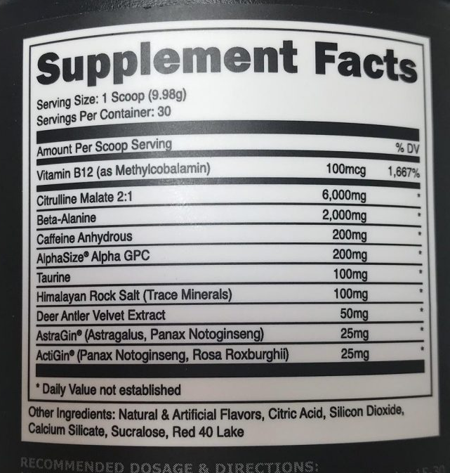 Bucked up pre workout ingredients