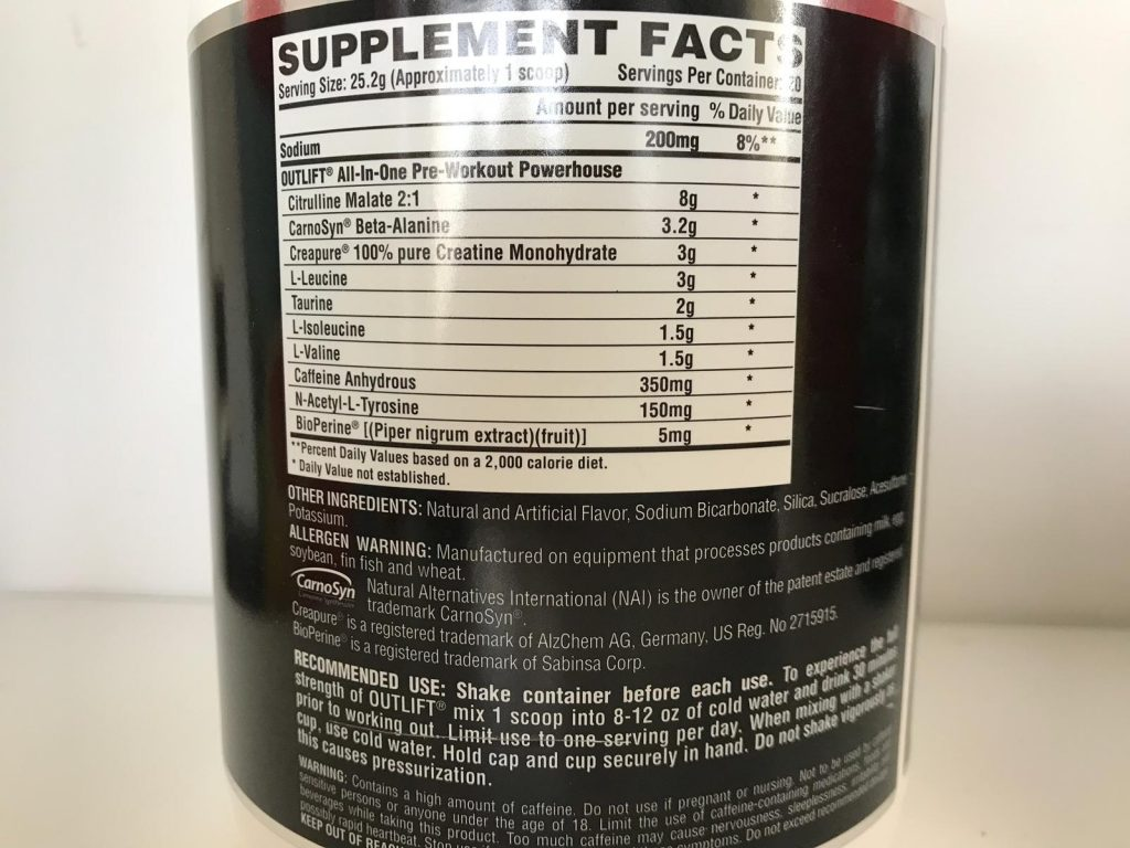 Nutrex Research Outlift Ingredients