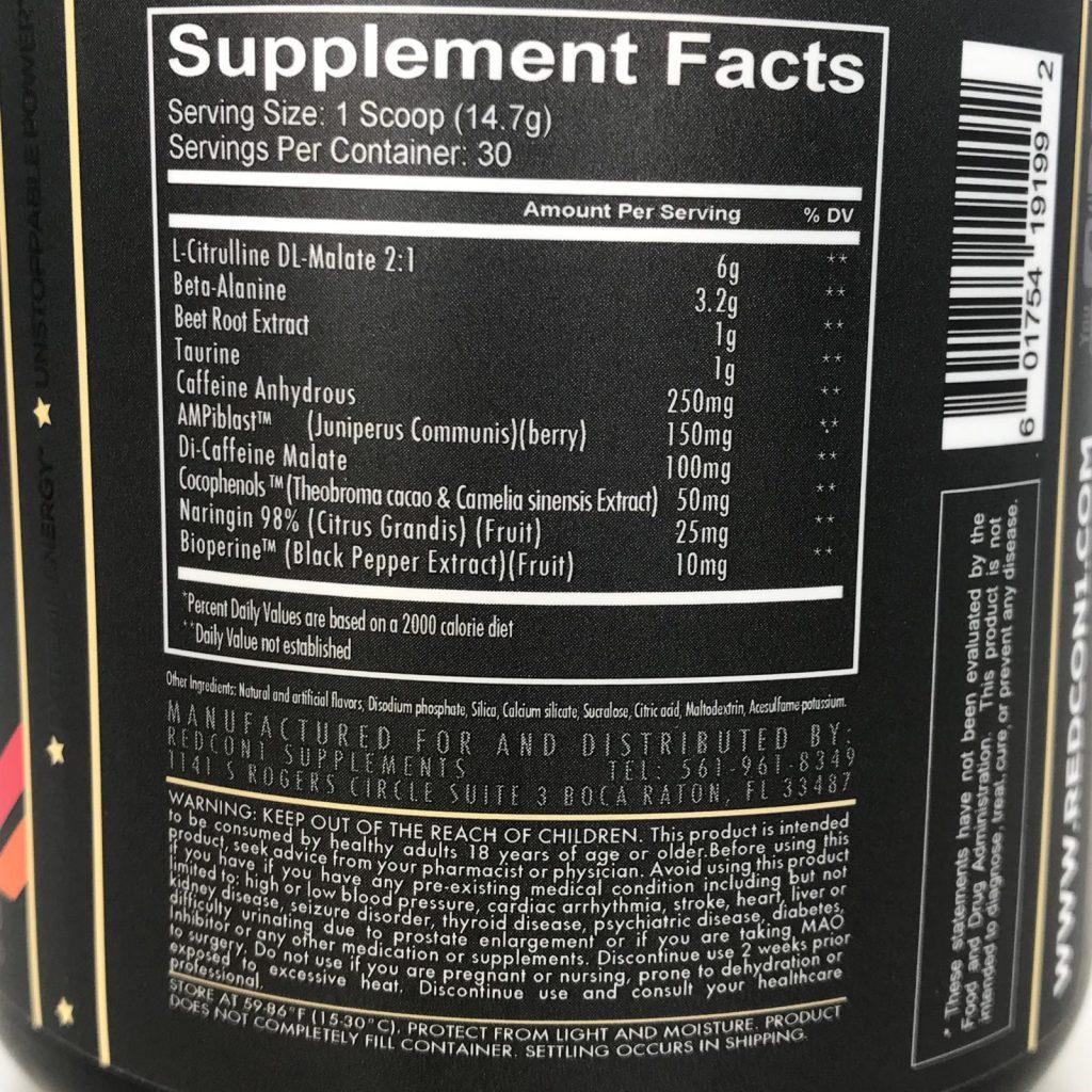 Redcon1 Total War Pre Workout ingredients